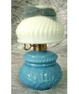 Vintage AVON Perfume Bottle - Milk Glass - Blue Lamp with White Shade  - $6.00