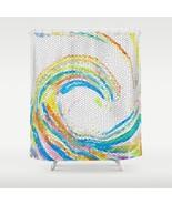 Shower curtains art curtain Design 35 wave blue green yellow mosaic L.Dumas - $69.99