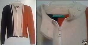 BENETTON racing style zip jacket cardigan Made in Italy