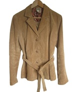 Womens Suede Leather Jacket Coat Size Medium Tan Button Front WILSONS - $20.00