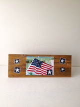 Rustic Decoupage Flag Sign - Item 2550 - Size 5 x 15 - Reclaimed Weather... - $23.00