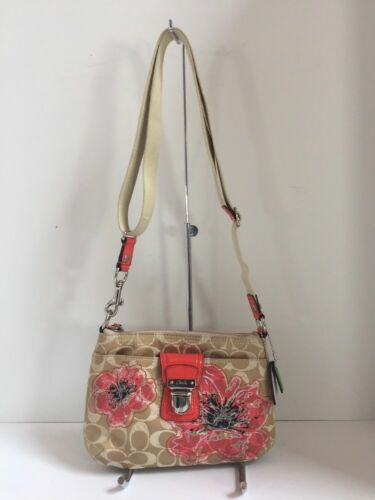 Coach Crossbody Bag  Poppy Flower Sequin Limited Edition Floral Beige  47075 B9