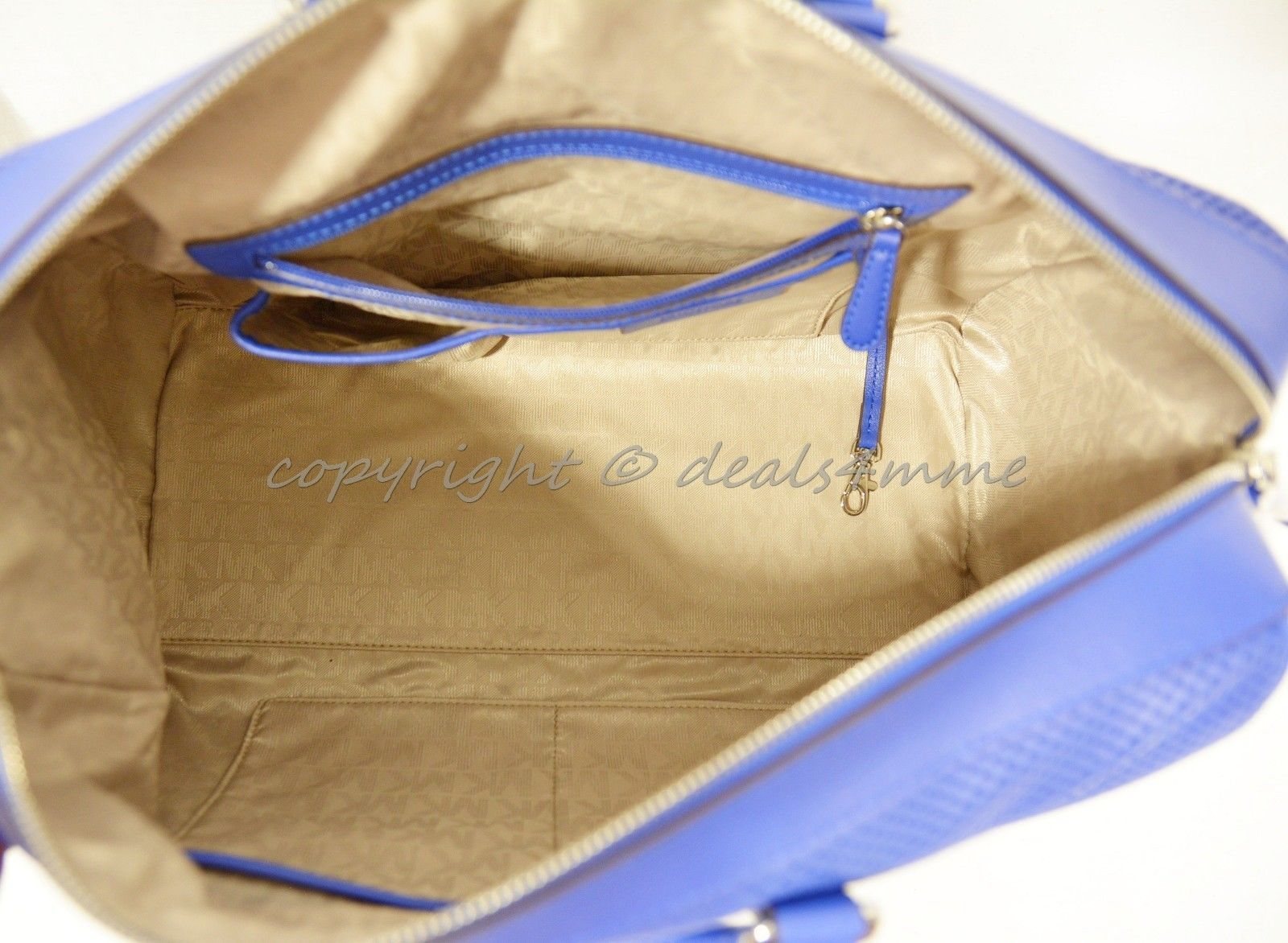 0e44229a02c3dc Michael Kors Libby Large Gym Bag in Electric Blue Perforated Leather