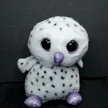 Russ Berrie White Spotted Snow Owl Frost Plush Stuffed Animal Purple Spa... - $12.86