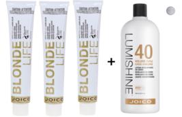 3 Joico Blonde Life Hyper High Lift Hair Color, Pearl  + LumiShine developer