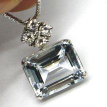 Halskette Weißgold 750 - 18k, Anhänger Aquamarin Schliff Smaragd und Diamanten image 3