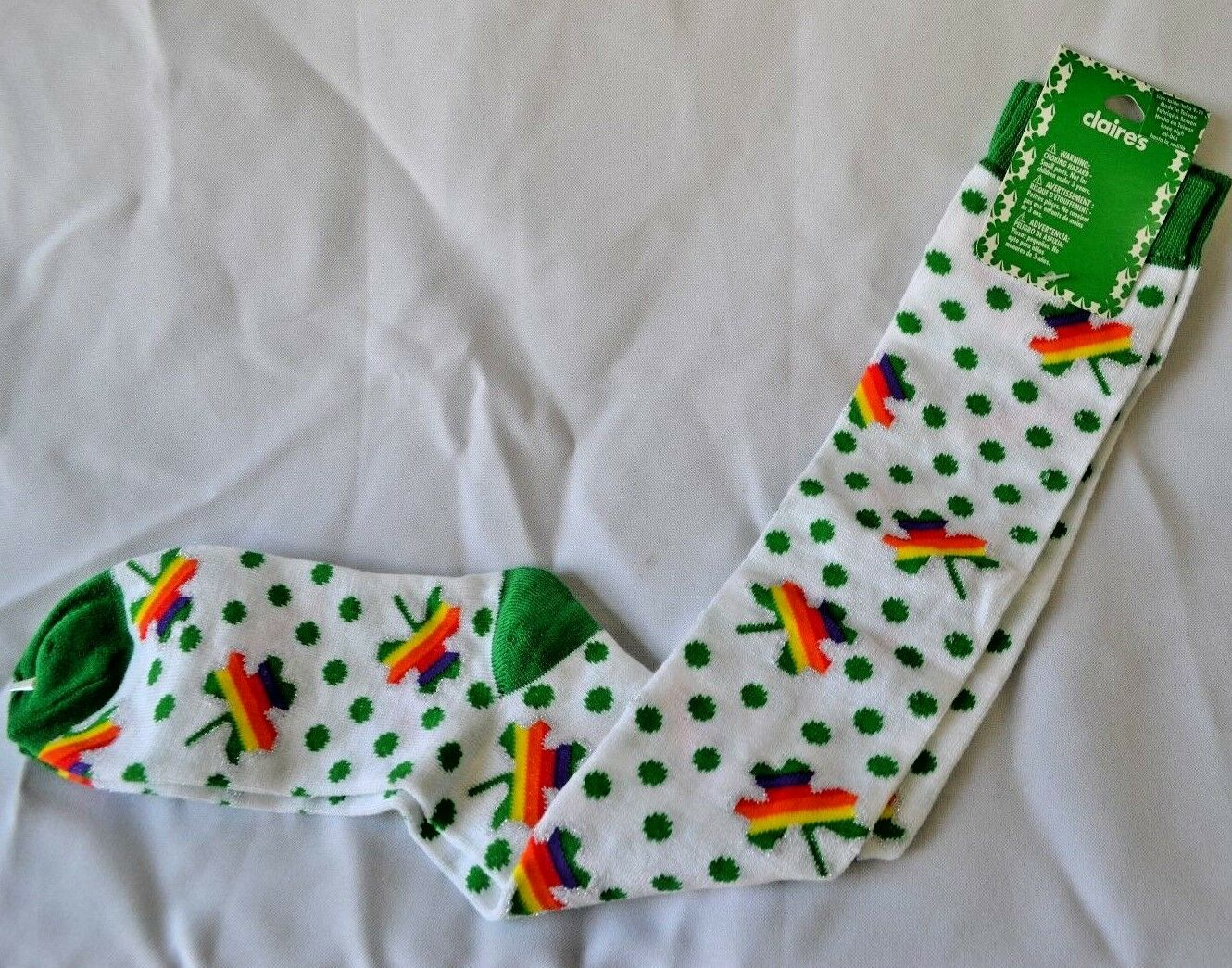 Primary image for St. Patricks Day Knee Socks Rainbow Shamrock Green Polka Dots Women's 9-11 - NEW