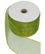 Mettalic Lime Green Ribbon/Mesh Tape, 4in x 75ft - $30.59