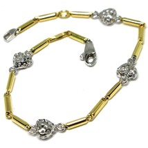 Bracelet White Gold Yellow 18k 750, Tubes, Hearts Perforated, Length 17 CM image 1
