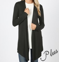 Black Plus Size Cardigan, Plus Size Cardigan Sweaters, Black, Colbert Clothing