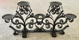 "NWT Neiman Marcus Wrought Iron Black Candelabra Pillar Candle Holder 15""... - $158.39"