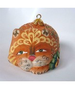 Hand Carved Painted Cat Ornament Figurine Russian Whimsical Sea Theme - $28.70