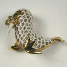 Vintage Estate Jewelry Walrus Brooch Signed Crown Trifari Goldtone Baby Seal - $128.69