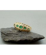 Vintage 1973 18k 18ct Yellow Gold Emerald and diamond ring,Antique style... - $338.00
