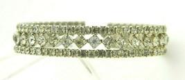 Clear Rhinestone Art Deco Style Silver Tone Cuff Bracelet One Size Fits Most - $19.79