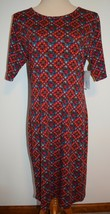New LuLaRoe Dress Julia Burgundy Red Green Orange Short Sleeve Stretch Knit XL - $22.43