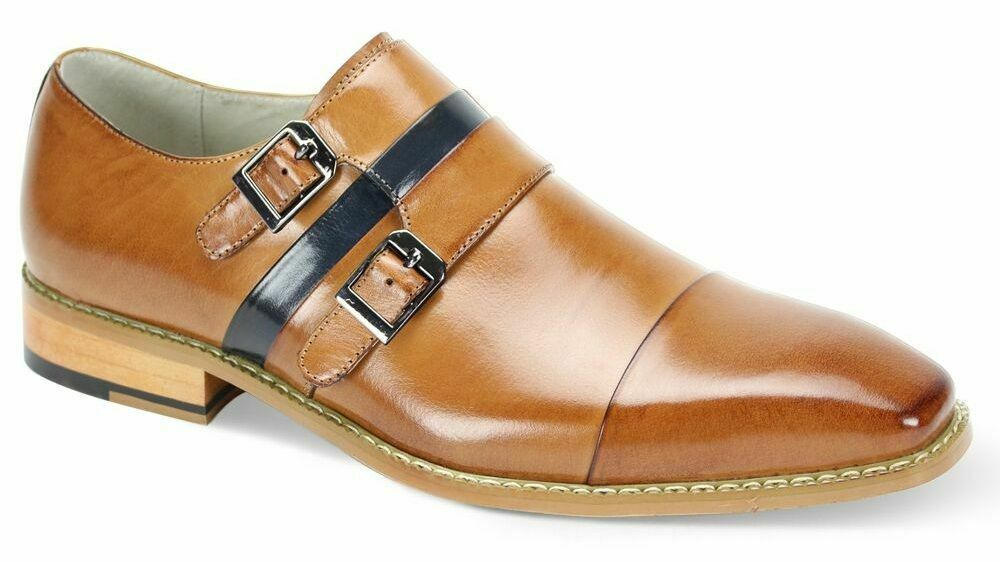 Handmade Men's Tan Two Tone Double Monk Dress/Formal Leather Shoes