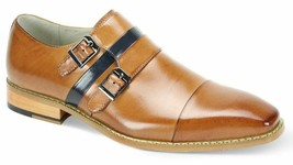 Handmade Men's Tan Two Tone Double Monk Dress/Formal Leather Shoes image 1