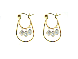 14K Solid Gold Divine Dangling Earrings with CZ for Children & Adults ON SALE - $120.77