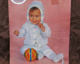 Vintage Knitting Patterns BABY Babies HOODED JACKET and PULL UP PANTS - $3.55