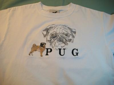 """MEN WOMEN UNISEX GR8 DOGS T SHIRT L LARGE M MEDIUM WHITE """"PUG"""":"""