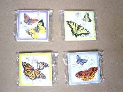NEW BUTTERFLY MAGNET CERAMIC TILE SET