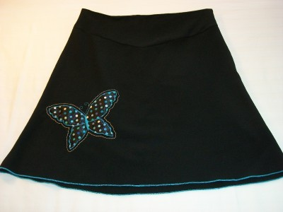 WOMEN STAR CITY BLACK SKIRT SIZE 9 BUTTERFLY ON FRONT