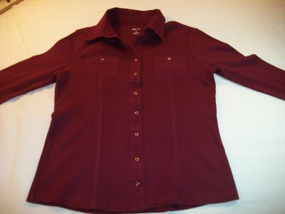 WOMEN STYLE CO SHIRT TOP S SMALL BURGUNDY 3/4 SLEEVES