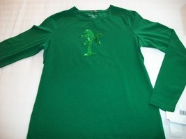 Women Liz Claiborne Petite Shirt Top M Medium Nwt Green - $8.99