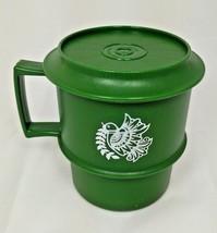 Vintage Green TUPPERWARE Stacking Snack Cup Lid Coaster 1313-14 1312-8 Mug DOVE - $8.95