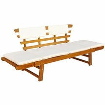vidaXL Solid Wood Garden Bench Day Sofa Bed w/ Cushions Outdoor Patio Ga... - $157.99