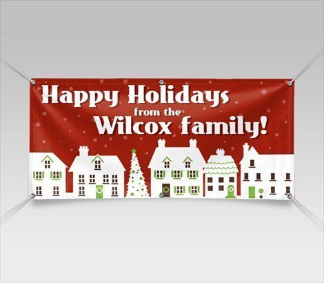 Happy Holydays Banner 3'x5' vinyl 13 oz. Add your Family Reunions custom add tex