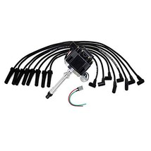 A-Team Performance HEI Distributor Black Cap with Black Spark Plug Wires Set and image 2