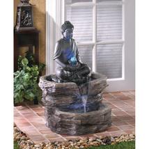 Serenity Zen Sitting Buddha w/ LED Lighting Outdoor Garden Water Fountain  - $277.95