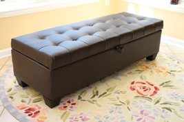 Storage Bench With Cushion Tufted Leather Ottom... - $199.97