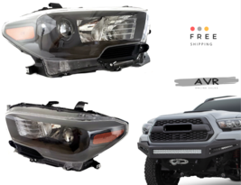 For 2016 2018 Toyota Tacoma Set Left LH Right RH Set Headlights FULL Black LED - $364.64