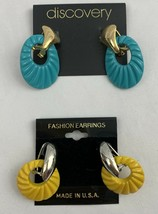 Vintage Funky Door Knocker Earrings Interchangeable Dangle 80s NOS Blue ... - $16.79