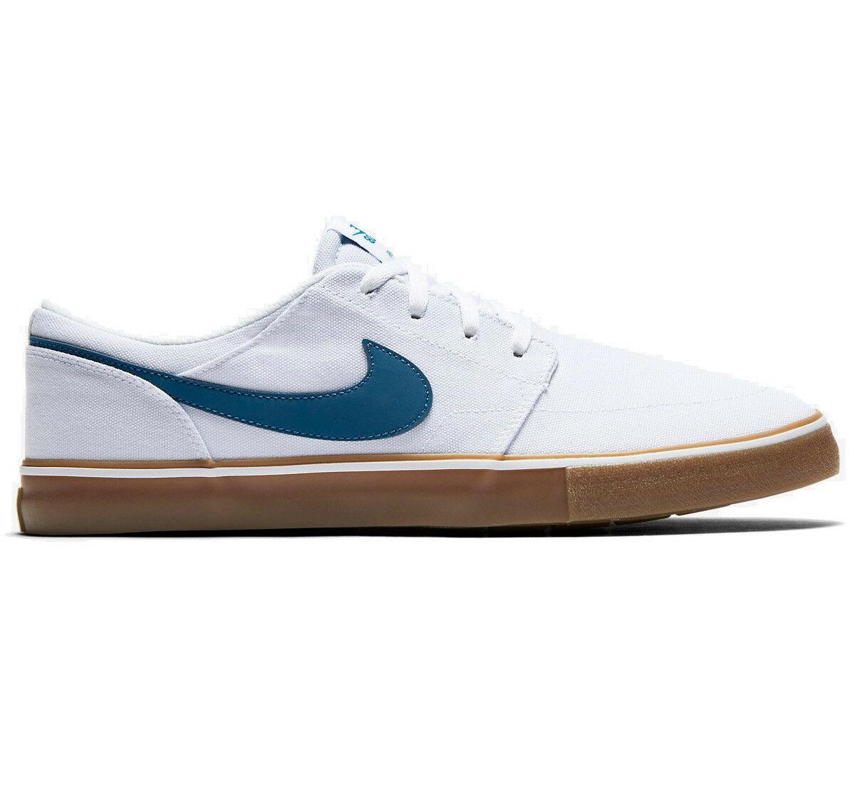Nike SB Portmore II Solar CNVS Canvas White/Blue Mens Skate Shoes 880268-149