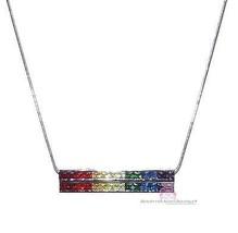 7 Color God's Promise Rainbow Cubic Zirconia CZ Double 2 Row Multi Bar Necklace - $79.50
