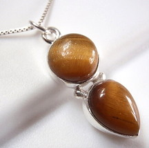 Tiger Eye Double Gem 925 Sterling Silver Necklace Round Teardrop New - $22.72