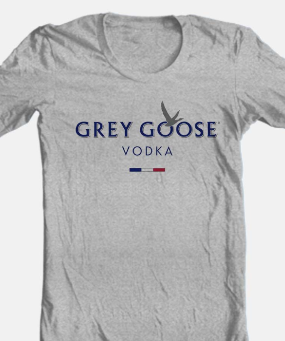 Grey Goose T-shirt vodka alcohol beer cotton blend graphic printed heather grey