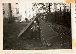 1953 Old Vintage Antique Photograph Cute Little Baby in Tent in the Yard - $7.92