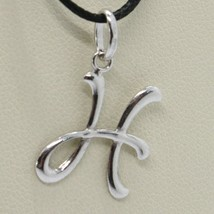 18K WHITE GOLD PENDANT CHARM INITIAL LETTER H, MADE IN ITALY 0.8 INCHES, 21 MM image 1