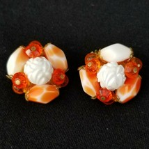 Orange & White Beaded Vintage Clip On Earrings Glass With Rose Signed Germany - $14.52