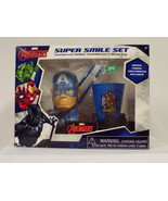 NEW SEALED Avengers Captain America Great Smile Set Toothbrush + Holder ... - $13.99