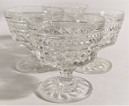 4 Anchor Hocking Wexford Crystal Footed Sherbet Cups Dish Glasses Clear ... - $26.73