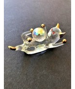 Glass cat playing with crystal ball clear with gold tipped trim detail 2... - $7.69