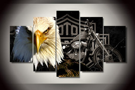 Amazing Harley Davidson Eagle Print 5 Piece Canvas Art Wall Art Picture Home Decor    $24.70+
