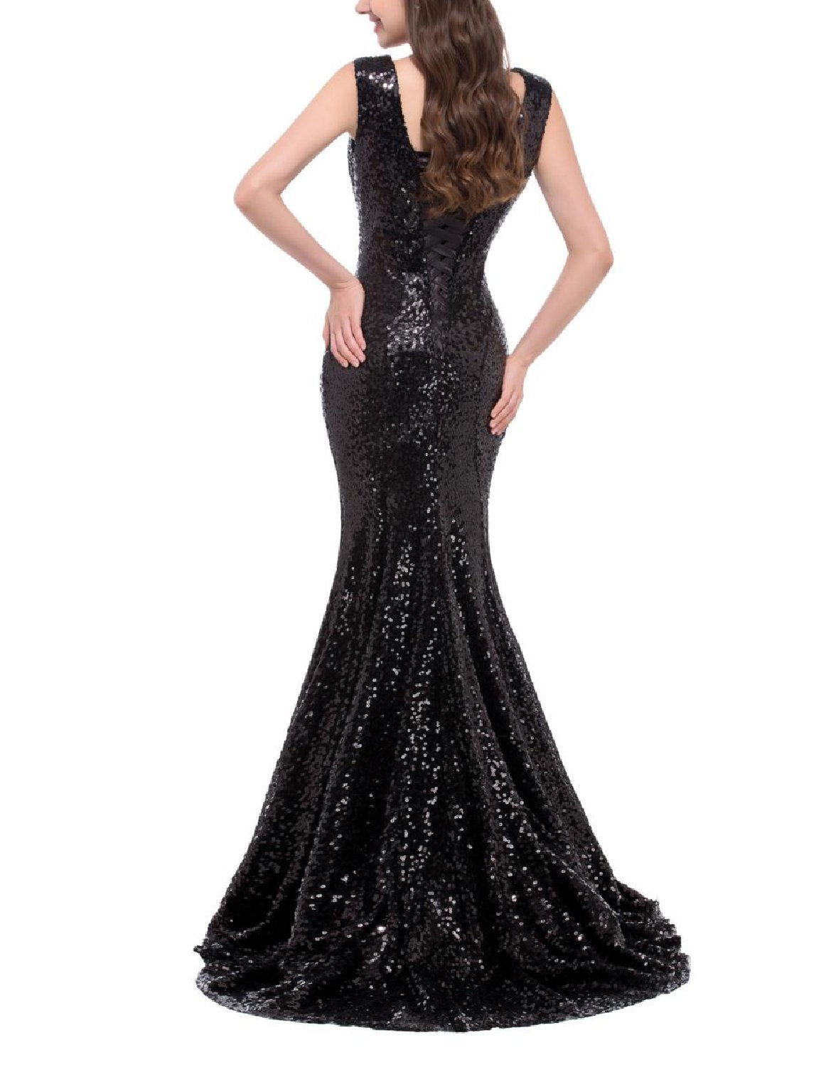 Women's Sexy V Neck Long Evening Party Dress Mermaid Sequins Prom Formal Gown