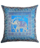 "16"" Indian Traditional Elephant Cushion/Pillow Cover Brocade Turquoise Blue - $9.89"